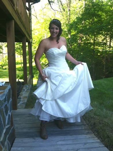 Such a fun bride! Rocking her boots :)