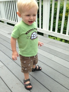 New sandals from his buddy, Ben - thought it was hilarious that he could see his toes.