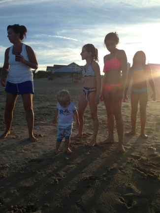 cousins at sunset