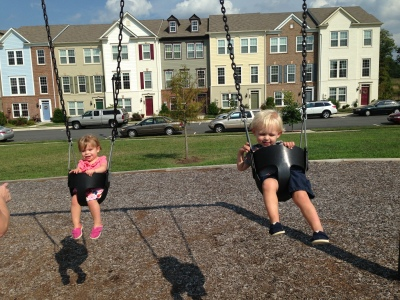 we caved. Graham and Morgan swinging.